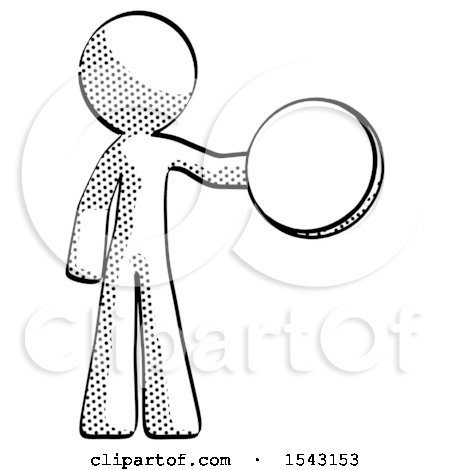 Halftone Design Mascot Man Holding a Large Compass by Leo Blanchette