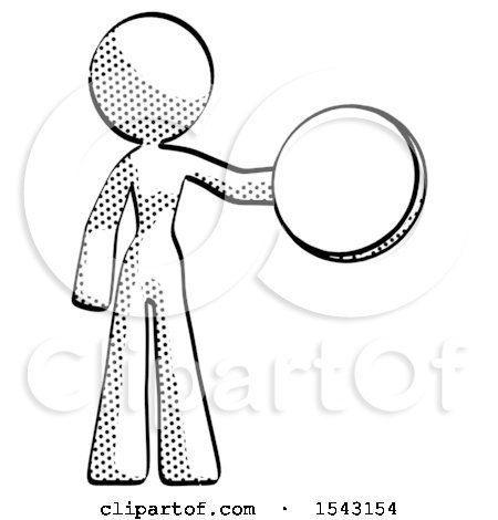 Halftone Design Mascot Woman Holding a Large Compass by Leo Blanchette