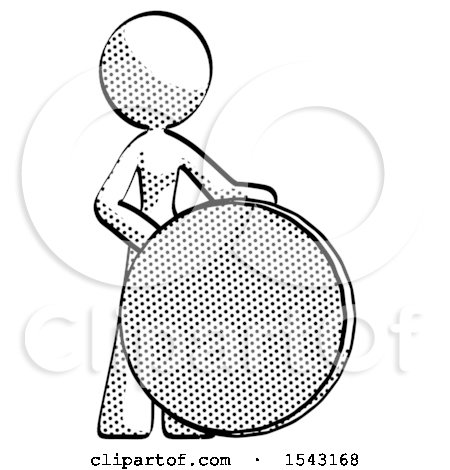 Halftone Design Mascot Woman Standing Beside Large Compass by Leo Blanchette