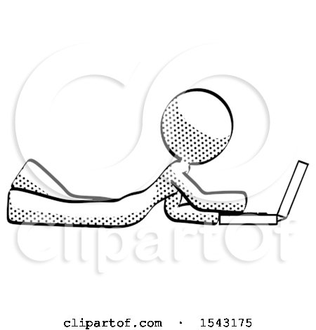 Halftone Design Mascot Woman Using Laptop Computer While Lying on Floor Side View by Leo Blanchette
