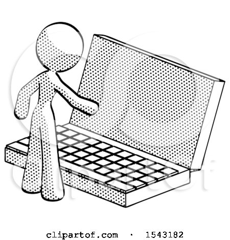 Halftone Design Mascot Woman Using Large Laptop Computer by Leo Blanchette