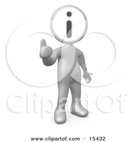 Silver Person With An I For Information Head Giving The Thumbs Up Clipart Illustration Image by 3poD