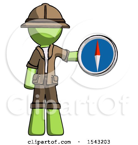 Green Explorer Ranger Man Holding a Large Compass by Leo Blanchette