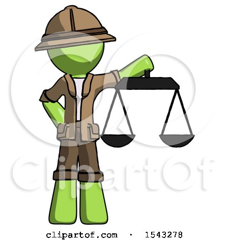 Green Explorer Ranger Man Holding Scales of Justice by Leo Blanchette