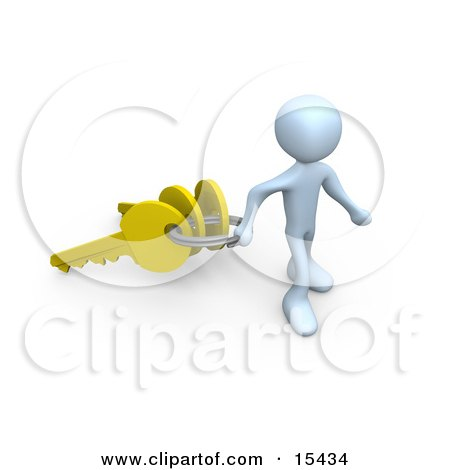 White Figure Pulling A Large Keyring With Three Golden Keys On It, Symbolizing A New Homeowner Or Security Clipart Illustration Image by 3poD