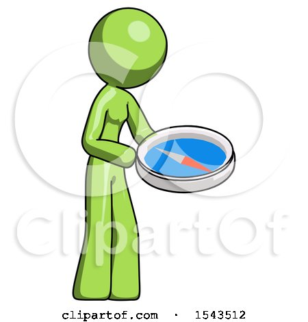 Green Design Mascot Woman Looking at Large Compass Facing Right by Leo Blanchette