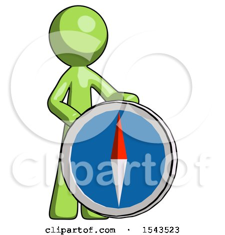Green Design Mascot Man Standing Beside Large Compass by Leo Blanchette