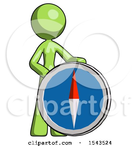Green Design Mascot Woman Standing Beside Large Compass by Leo Blanchette