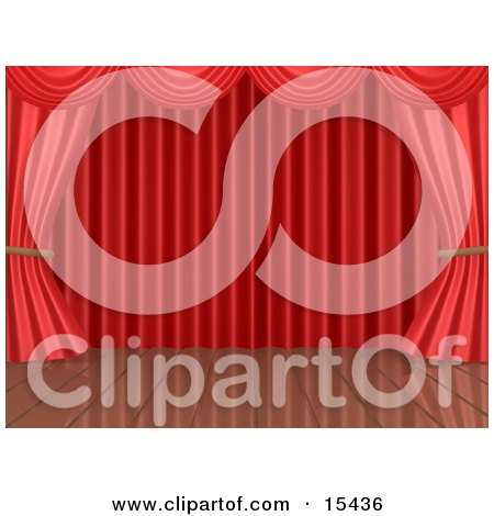 Red Theatre Curtains Framing An Empty Wooden Stage Clipart Illustration Image by 3poD