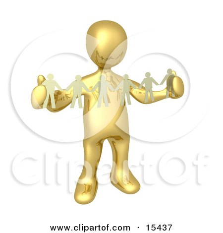 Gold Person, Such As A Boss Or Manager, Holding A Strand Of Paper People, Symbolizing Control Or Teamwork  Posters, Art Prints