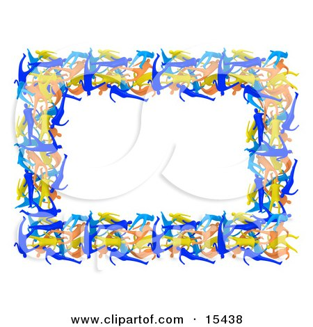 Border Of Colorful People Forming A Frame Around A White Background Clipart Illustration Image by 3poD
