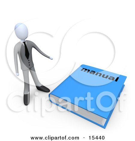 Businessman Standing Beside A Giant Blue Manual  Posters, Art Prints