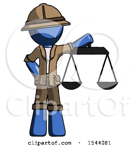 Blue Explorer Ranger Man Holding Scales of Justice by Leo Blanchette