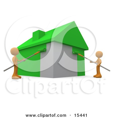 Two Environmentally Concerned Orange People Using Roller Brushes To Paint A Home Green, Symbolizing Upgrading A Home To Be More Energy Efficient Clipart Illustration Image by 3poD