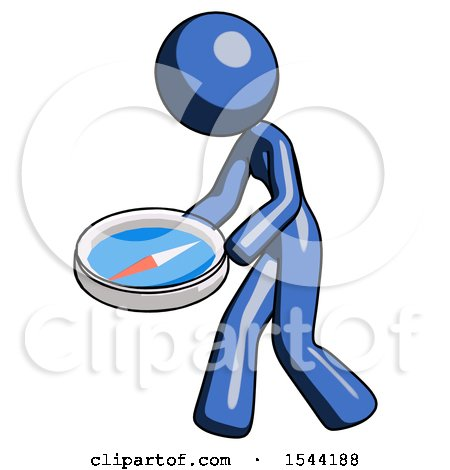 Blue Design Mascot Woman Walking with Large Compass by Leo Blanchette