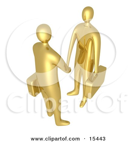 Two Golden Businessmen With Briefcases Shaking Hands Upon Agreement Of A Business Deal  Posters, Art Prints