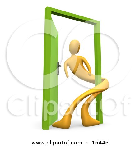 Yellow Person Twisted Around The Frame Of An Open Green Door, Symbolizing Lonliness, Split Personalities, Uncertainty, And An Egotistical Person Clipart Illustration Image by 3poD