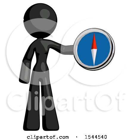 Black Design Mascot Woman Holding a Large Compass by Leo Blanchette
