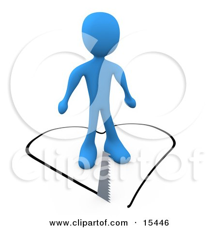 Unsuspecting Blue Man About To Fall In Love As A Saw Cuts A Heart Shape Out Of The Floor Under Him Clipart Illustration Image by 3poD