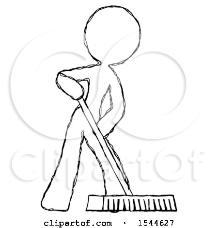 sketch design mascot woman cleaning services janitor sweeping floor with push broom by leo blanchette 1544627 janitor sweeping floor with push broom