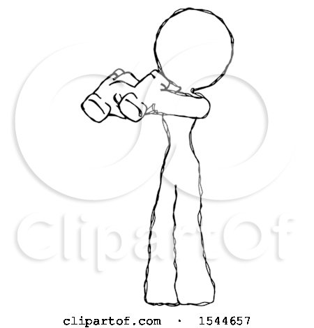 Sketch Design Mascot Woman Holding Binoculars Ready to Look Left by Leo Blanchette