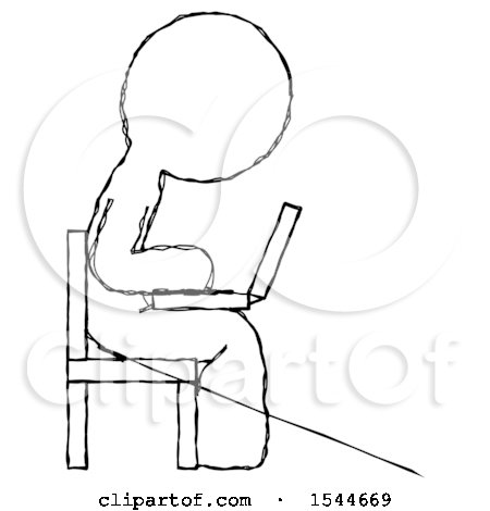 Sketch Design Mascot Man Using Laptop Computer While Sitting in Chair View from Side by Leo Blanchette