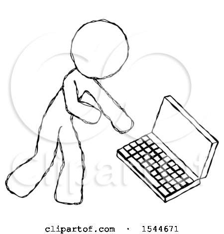 Sketch Design Mascot Man Throwing Laptop Computer in Frustration by Leo Blanchette