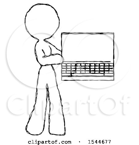 Sketch Design Mascot Woman Holding Laptop Computer Presenting Something on Screen by Leo Blanchette