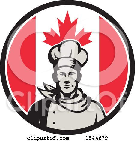 Clipart of a Retro Male Chef in a Canadian Flag Circle - Royalty Free Vector Illustration by patrimonio