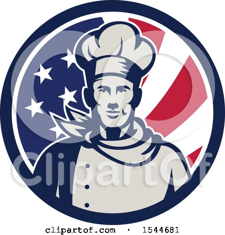 Clipart of a Retro Male Chef in an American Flag Circle - Royalty Free Vector Illustration by patrimonio