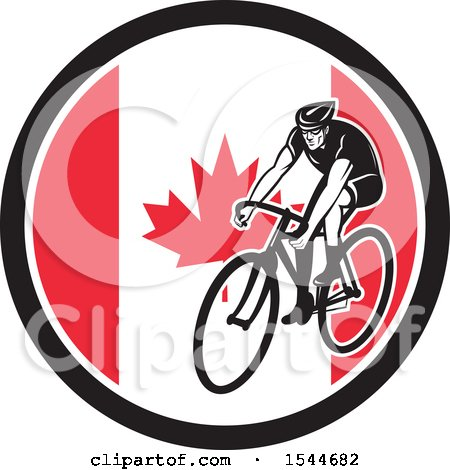 Clipart of a Retro Male Cyclist Riding a Bicycle in a Canadian Flag Circle - Royalty Free Vector Illustration by patrimonio
