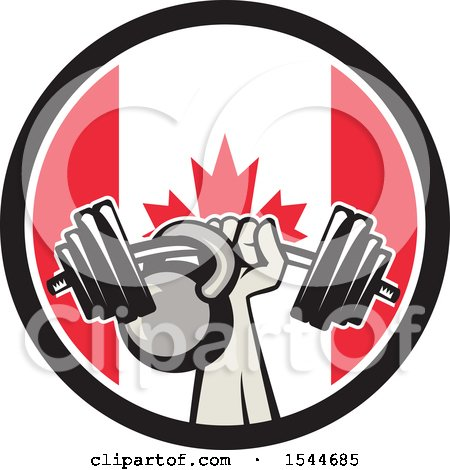 Clipart of a Retro Bodybuilder Arm Holding up a Bent Barbell and Kettlebell in a Canadian Flag Circle - Royalty Free Vector Illustration by patrimonio