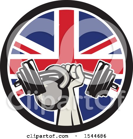 Clipart of a Retro Bodybuilder Arm Holding up a Bent Barbell and Kettlebell in a Union Jack Flag Circle - Royalty Free Vector Illustration by patrimonio