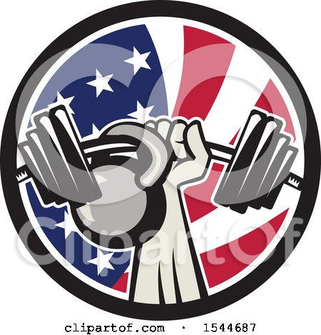 Clipart of a Retro Bodybuilder Arm Holding up a Bent Barbell and Kettlebell in an American Flag Circle - Royalty Free Vector Illustration by patrimonio
