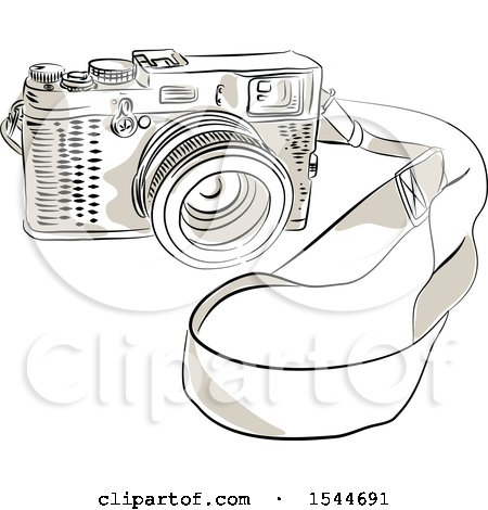 Clipart of a Sketched Vintage 35mm SLR Film Camera - Royalty Free Vector Illustration by patrimonio