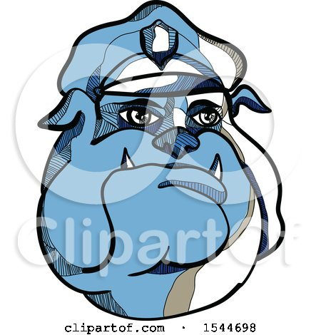 Clipart of a Sketched Blue Bulldog Police Man Wearing a Hat - Royalty Free Vector Illustration by patrimonio