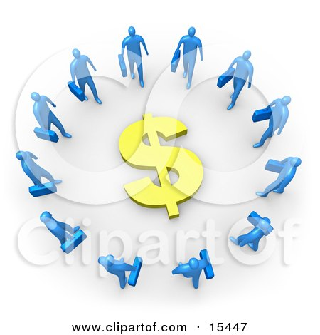 Group Of Blue Businessmen Carrying Briefcases Standing In A Circle Around A Dollar Sign Clipart Illustration Image by 3poD