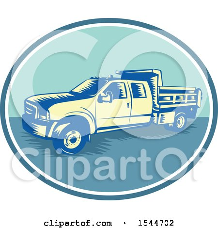 Clipart of a Retro Woodcut Tipper Dump Pick up Truck with an Open Box Bed - Royalty Free Vector Illustration by patrimonio
