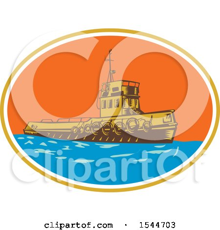 Clipart of a Retro Woodcut Tugboat in an Oval - Royalty Free Vector Illustration by patrimonio