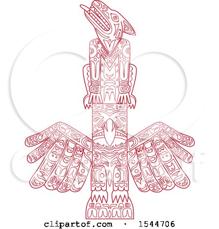 Clipart of a Doodled Red Wolf and Eagle Totem Pole - Royalty Free Vector Illustration by patrimonio