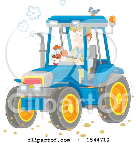 Clipart of a White Male Farmer and His Dog Operating a Tractor - Royalty Free Vector Illustration by Alex Bannykh