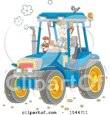 Clipart of a Caucasian Male Farmer and His Dog Operating a Tractor - Royalty Free Vector Illustration by Alex Bannykh