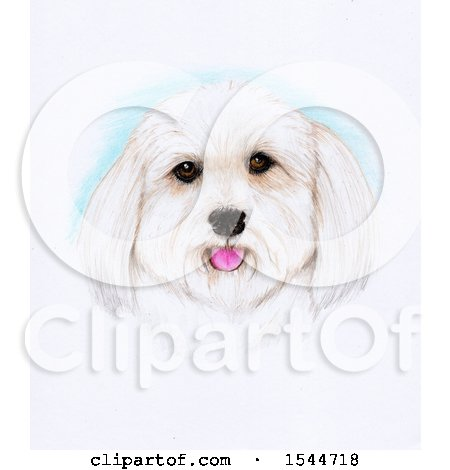 Clipart of a Pencil Art Portrait of a Happy Dog - Royalty Free Illustration by Maria Bell