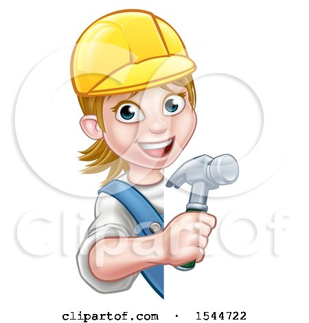 Clipart of a White Female Carpenter Holding a Hammer Around a Sign - Royalty Free Vector Illustration by AtStockIllustration