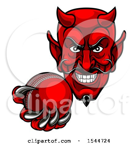 Clipart of a Grinning Evil Red Devil Holding out a Cricket Ball in a Clawed Hand - Royalty Free Vector Illustration by AtStockIllustration