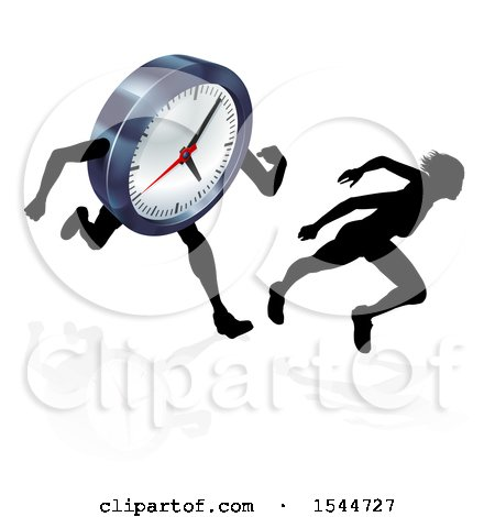Clipart of a Silhouetted Woman Racing a Clock Character - Royalty Free Vector Illustration by AtStockIllustration