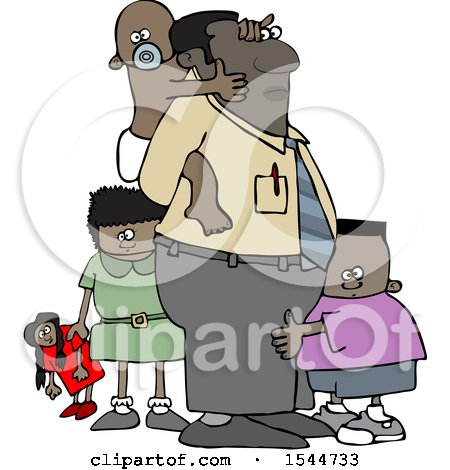 Clipart of a Cartoon Black Father and His Kids - Royalty Free Vector Illustration by djart