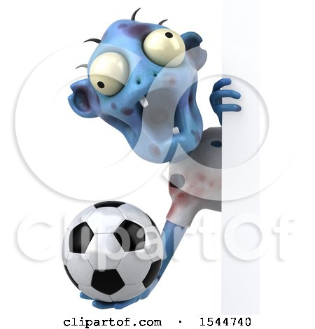 Clipart of a 3d Blue Zombie Holding a Soccer Ball, on a White Background - Royalty Free Illustration by Julos