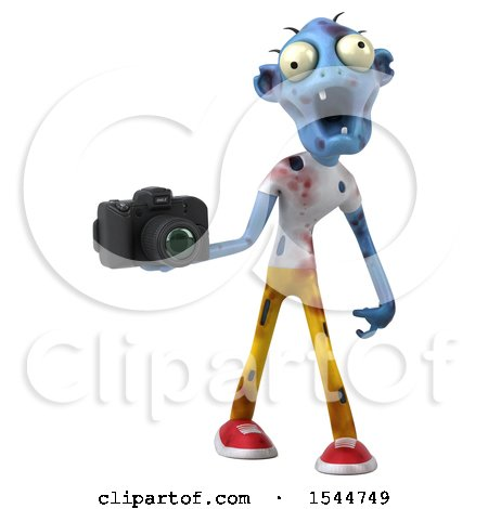 Clipart of a 3d Blue Zombie Holding a Camera, on a White Background - Royalty Free Illustration by Julos