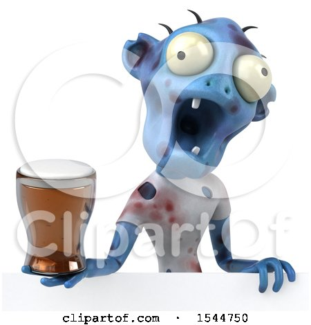 Clipart of a 3d Blue Zombie Holding a Beer, on a White Background - Royalty Free Illustration by Julos